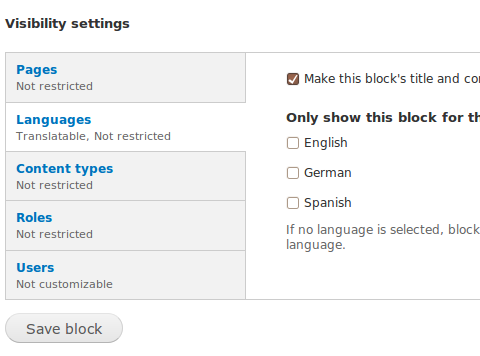 Drupal - Internationalization - Multilingual blocks