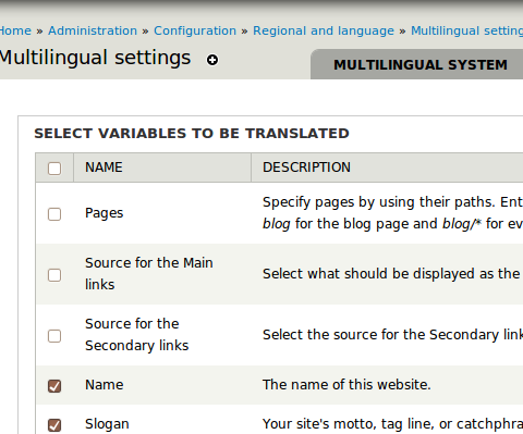Drupal - Internationalization - Multilingual variables
