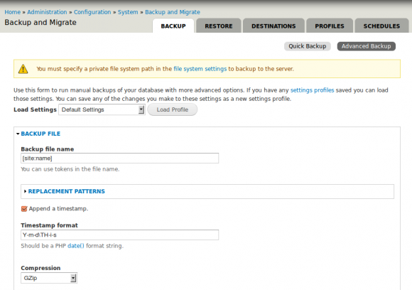 Screenshot - Drupal módulo Backup and Migrate