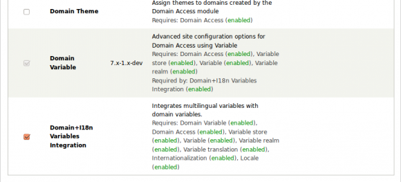 Screenshot - Modules from Drupal Domain Access package.