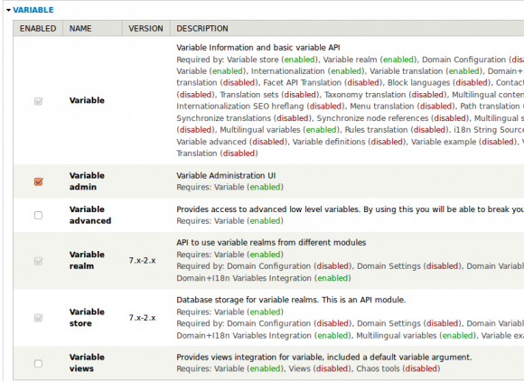 Screenshot - Drupal Variable modules