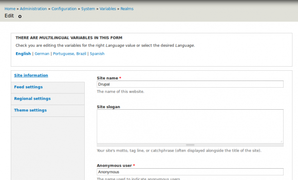 Screenshot - Drupal Variable administration, edit realm variables