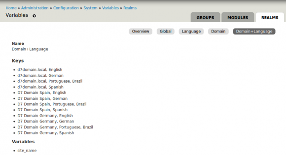Screenshot - Drupal Variable administration for mixed realms