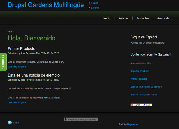Multilingual Web with Drupal Gardens - Spanish Home