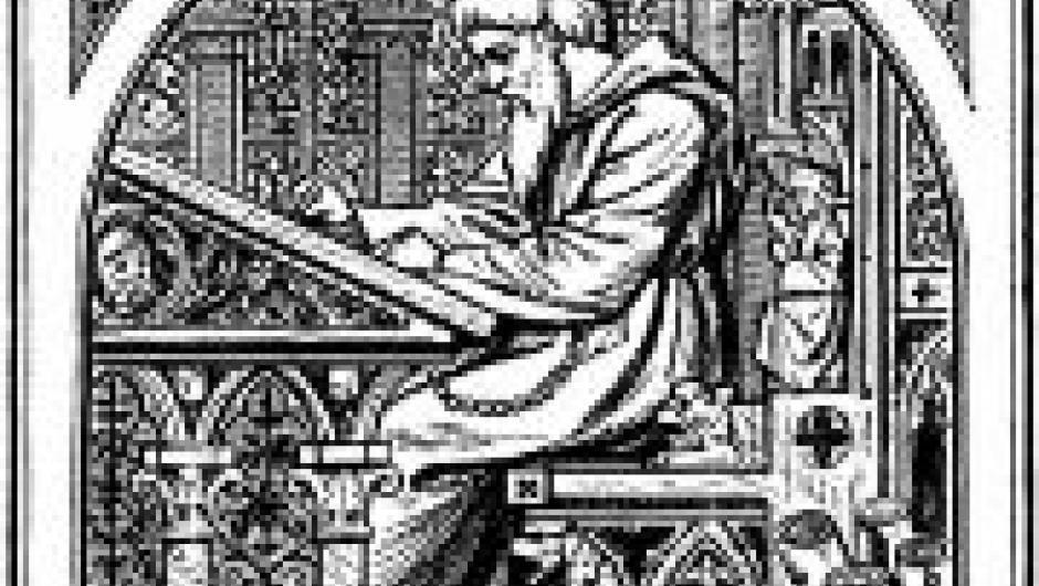 Grabado de un copista medieval trabajando.