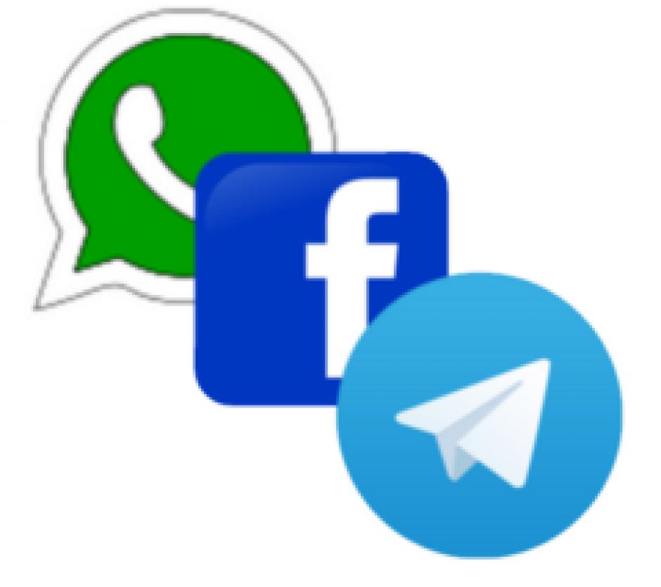 Logos: WhatsApp, Facebook, Telegram (Imágenes de Wikimedia.org)
