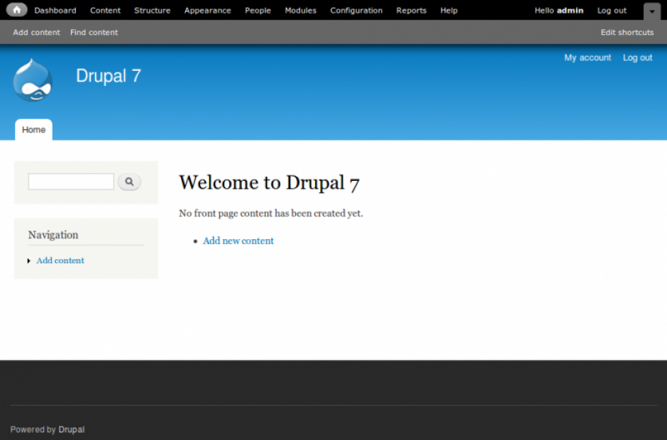 Welcome to Drupal 7 - Screenshot